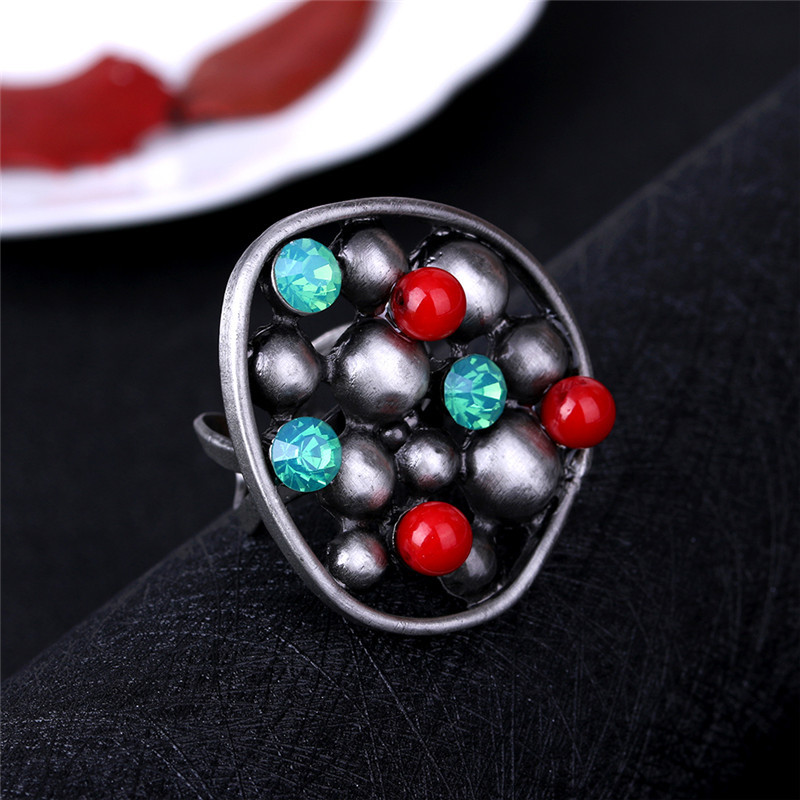 JUJIE Multicolor Rings For Women 2017 Vintage Fashion Round Wedding Nature Stone Ring Men Gun Black Aolly Crystal Rings For Mann