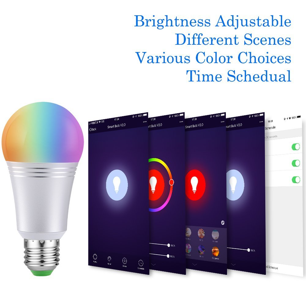 Wifi Smart Bulb Color Changing Bulb Google Home Bulb with Remote Control Dimmable E27/B22 RGBW led Lamps WiFi Smart Home APP