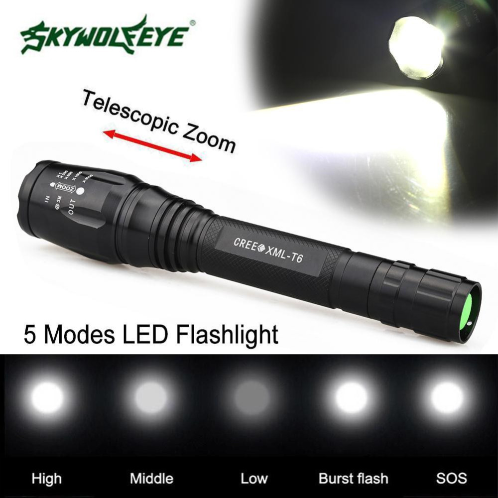 SKYWOLFEYE Zoomable 3800LM 5-Mode T6 LED Flashlight 18650 Torch Lamp Light Waterproof Strong Light Outdoor Activities