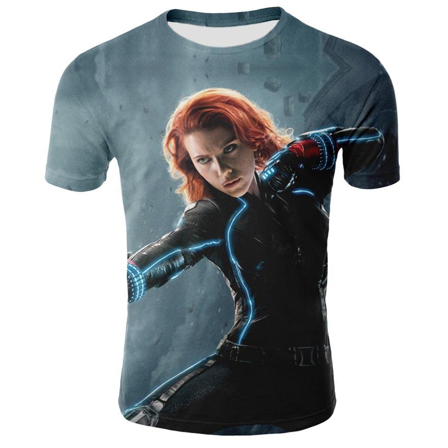 Sommer mode marvel t-shirt 3d druck black widow marvel männer und frauen kühlen beiläufigen männer t-shirt marvel deadpool t shirt