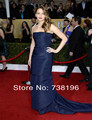 Free shipping By DHL mermaid satin shine navy blue train celebrity dresses long red carpet dresses for women