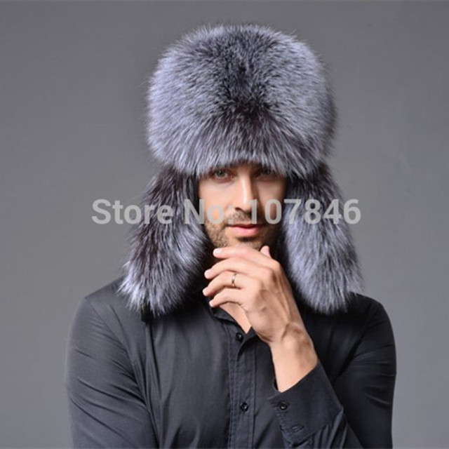8cf19997653 2017 Men Nature Real Fox Fur Bomber Hats Leather Cover Winter Caps Fashion  Ear Protector Headgear