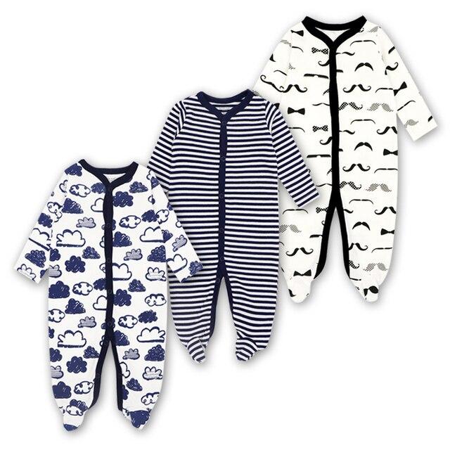 Pasgeboren Rompertjes Baby Meisjes Jongen Kleding Lange Mouwen Hansop 0-12 Maanden Leuke Cartoon Print Outfits Baby Jumpsuit 3 stuks