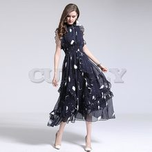 Cuerly 2019 Summer High Quality Fashion Designer Runway dresses Ladies Sleeveless Vest Elastic Stacked Ruffle Printed Dress