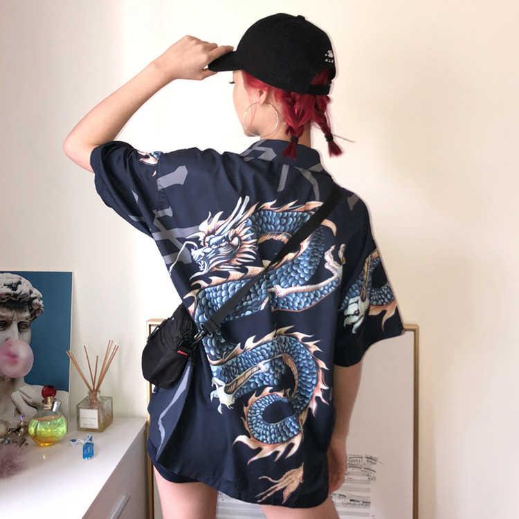 2019 新しい夏の日本原宿ブラウス 3D ドラゴンプリントシャツ女性男性半袖ターンダウン襟因果ブラウス女性トップス