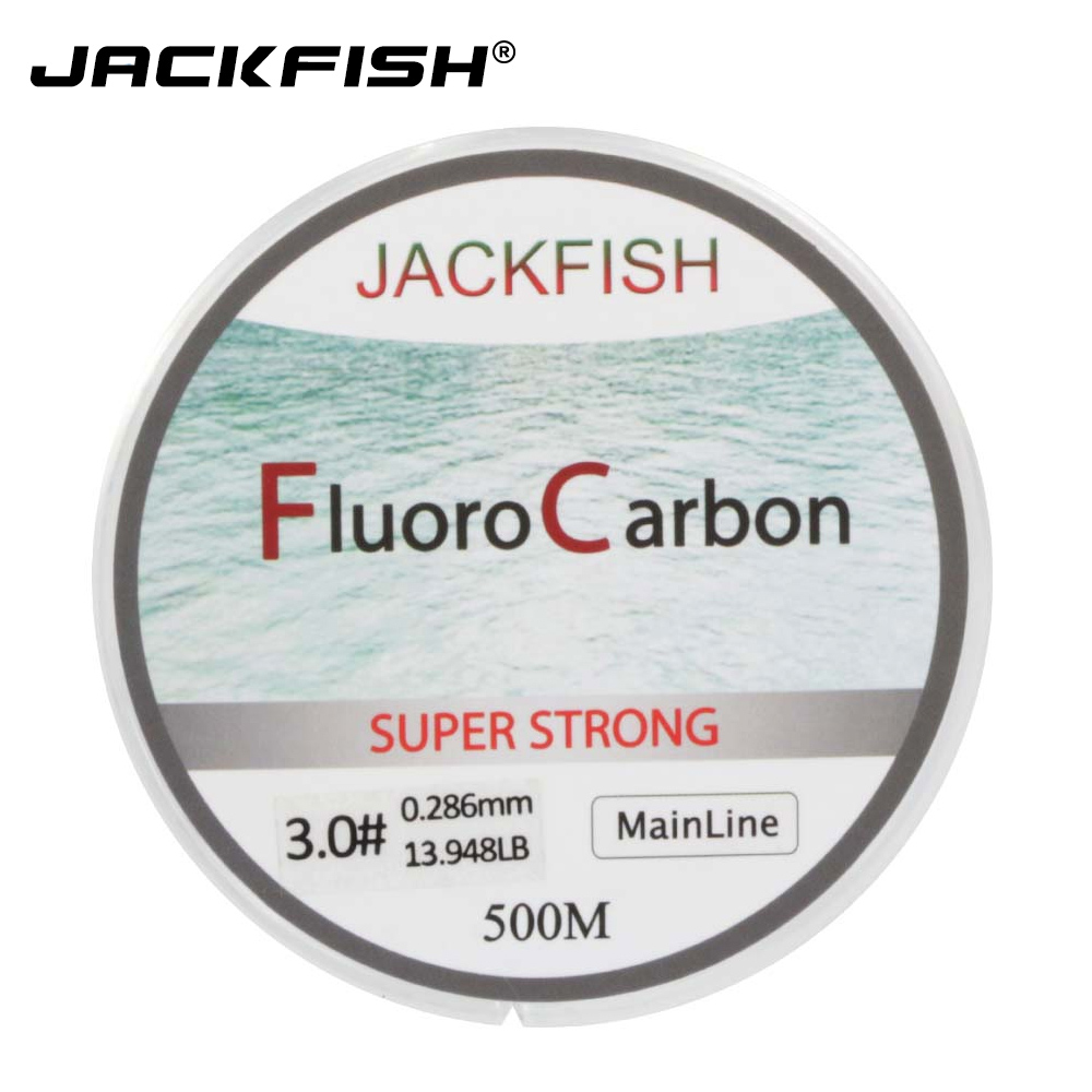 JACKFISH HOT SALE 500M Fluorocarbon Fishing Line 5-32LB test Carbon Fiber Leader Line 0.165-0.46mm fly fishing line pesca