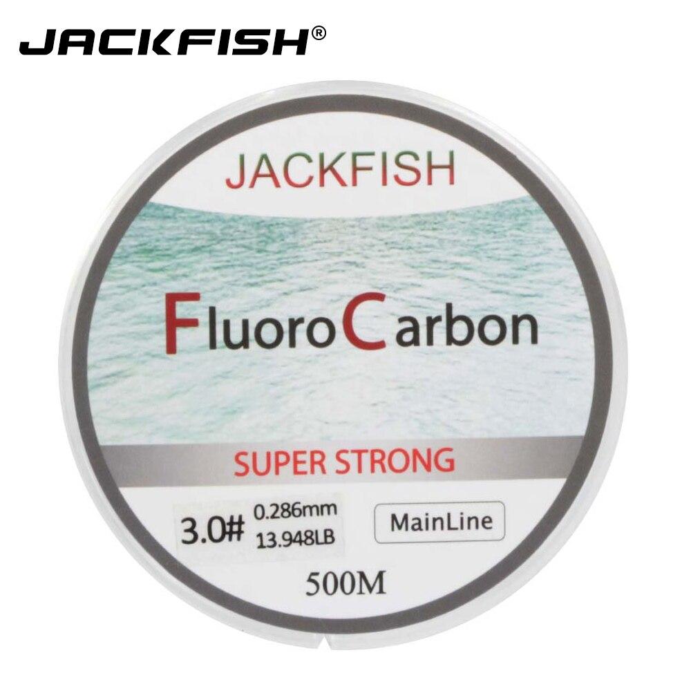 JACKFISH VENDA QUENTE de 500 M Linha De Pesca Fluorocarbon 5-32LB teste Linha Líder De Fibra De Carbono 0.165-0.46mm pesca com mosca linha de pesca