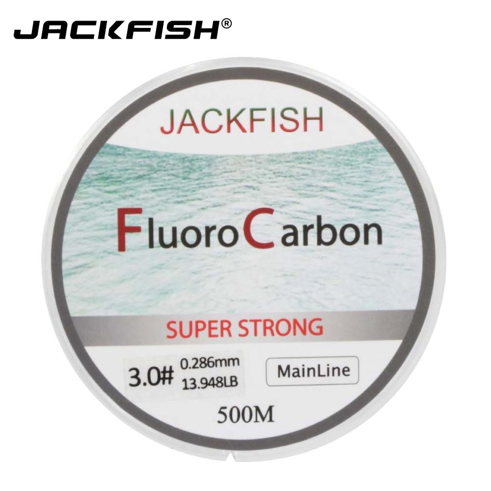 JACKFISH VENTE CHAUDE 500 M Fluorocarbone Ligne De Pêche 5-32LB test En Fiber De Carbone Leader Ligne 0.165-0.46mm pêche à la mouche ligne pesca