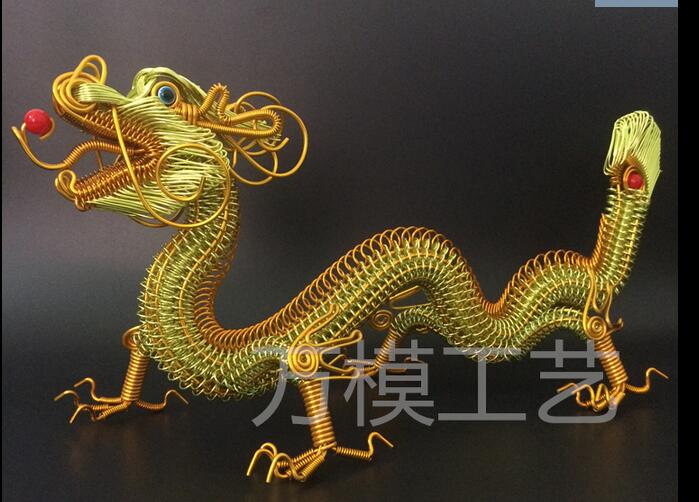 LONG 42CM dragon Creative handmade Lv Xianlong Color aluminum wire arts and crafts Exorcise of evil spir statue home decorationLONG 42CM dragon Creative handmade Lv Xianlong Color aluminum wire arts and crafts Exorcise of evil spir statue home decoration