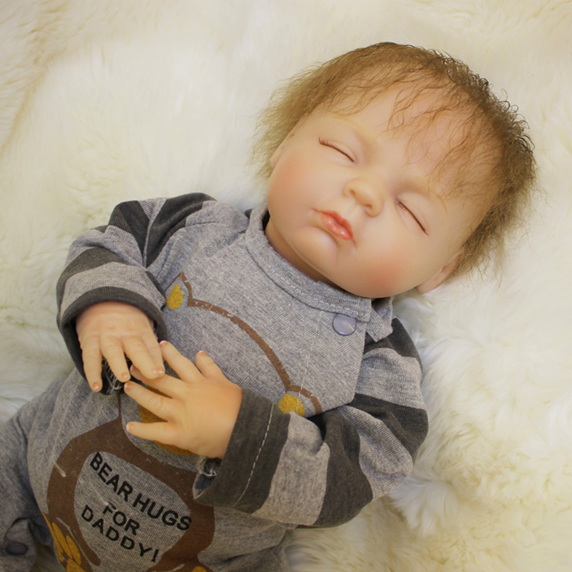 50cm Silicone Reborn Boy Baby Doll Toy 20inch Newborn Sleeping Babies Doll Fashion Birthday Gift Lovely Toddler Doll 50cm soft body silicone reborn baby doll toy lifelike baby reborn sleeping newborn boy doll kids birthday gift girl brinquedos