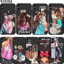 Принцесса Черный Коричневый волос ребенок мама девочка королева чехол для телефона Coque для Apple iPhone X чехол 7 8 6 6S Plus 5 5S SE X XS MAX XR Etui
