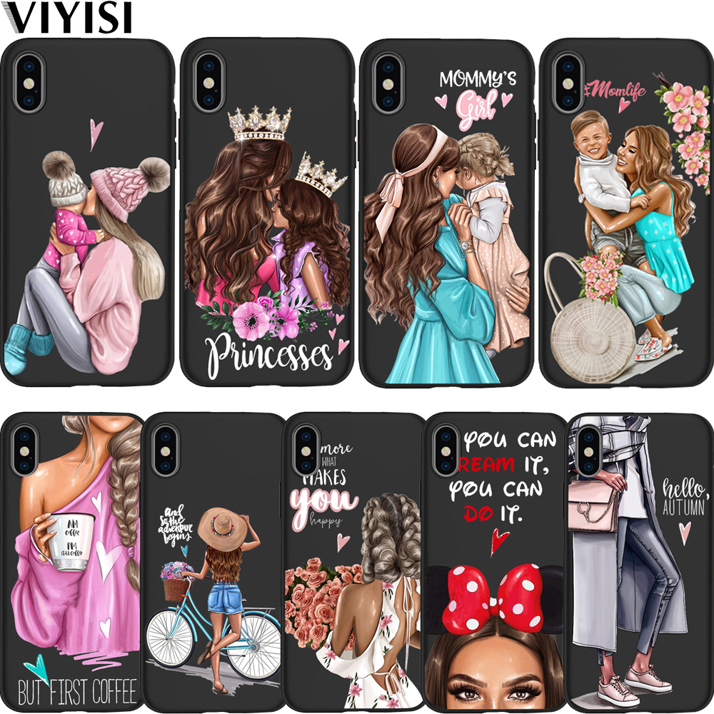 Princess Black Brown Hair Baby Mom Girl Queen Phone Case Coque For Apple iPhone X Case 7 8 6 6S Plus 5 5S SE X XS MAX XR Etui