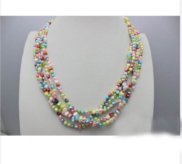 Wedding Woman Jewelry 18 5 Rows Rainbow Colorful Read Pearl Choker Necklace Natural Fres ...