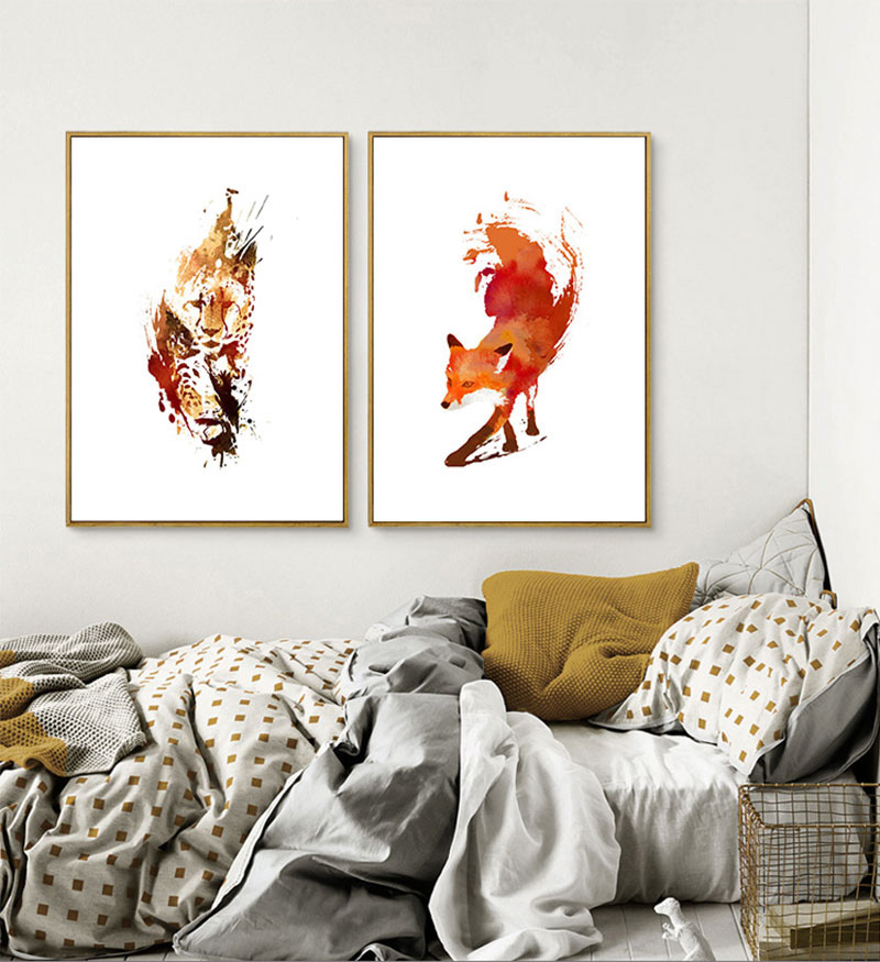 Acuarela Animal Fox Lion Modern Drawing Pictures Abstract Diy Pintura - Decoración del hogar