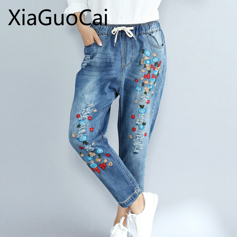Flowers Women Jeans Large Size Women's Autumn Casual Embroidery Pants Loose Thin Nine Ripped Pants Jeans For Women