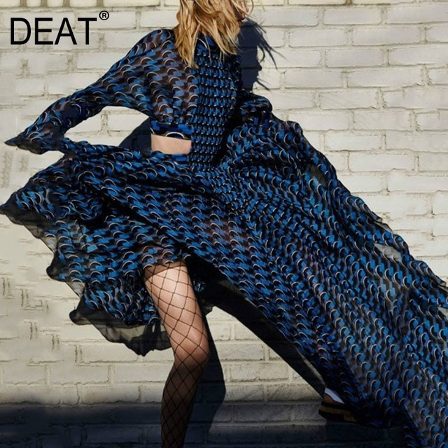 [DEAT] 2020 Spring Summer New Pattern Turtleneck Three Quarter Sleeve Hollow Empire Waist Printing Ladies Sexy Tunic Dress BA626 1