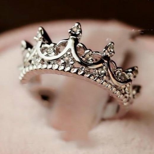 Free Wings Queen's Silver Crown Rings Әйелдер үшін Punk - Сәндік зергерлік бұйымдар - фото 5