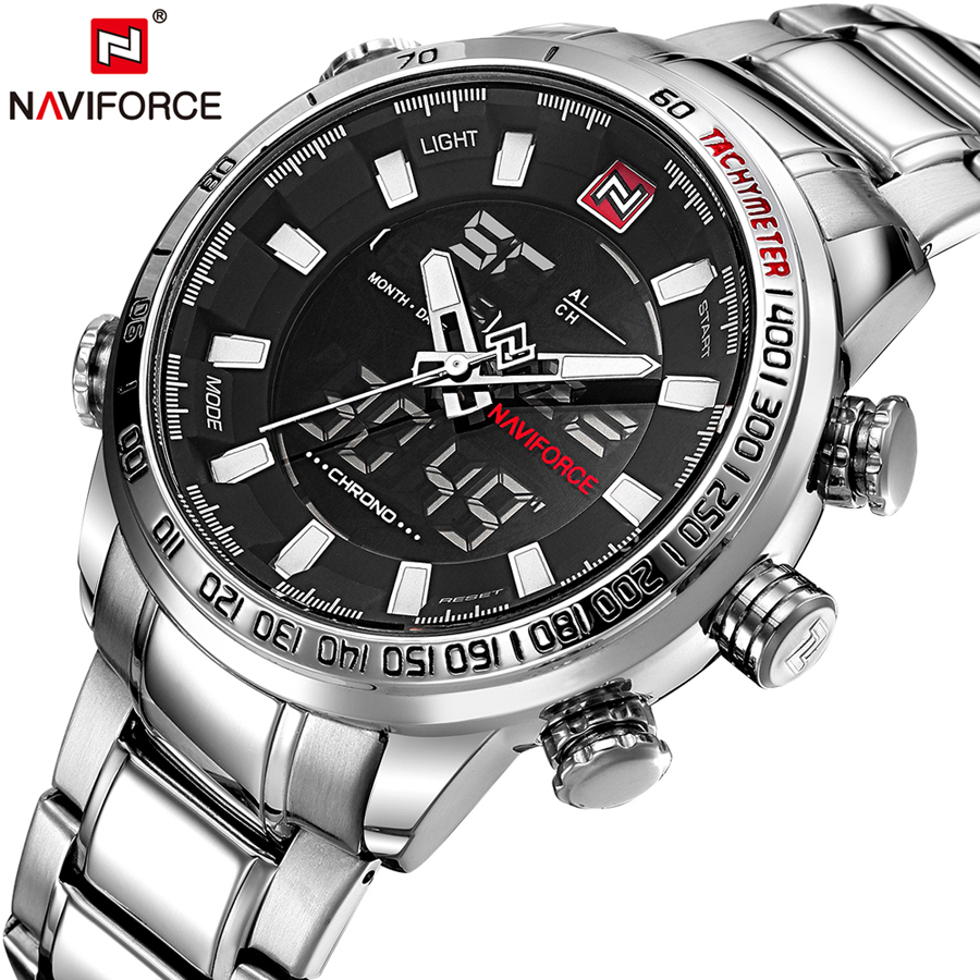 NAVIFORCE Top Brand Men Watch Military Sport Mens Watches Quartz LED Analog Digital Clock Male Army Stainless Steel Men's Watch naviforce men watch digital analog sport mens watches top brand luxury military stainless steel led quartz male clock box 9093