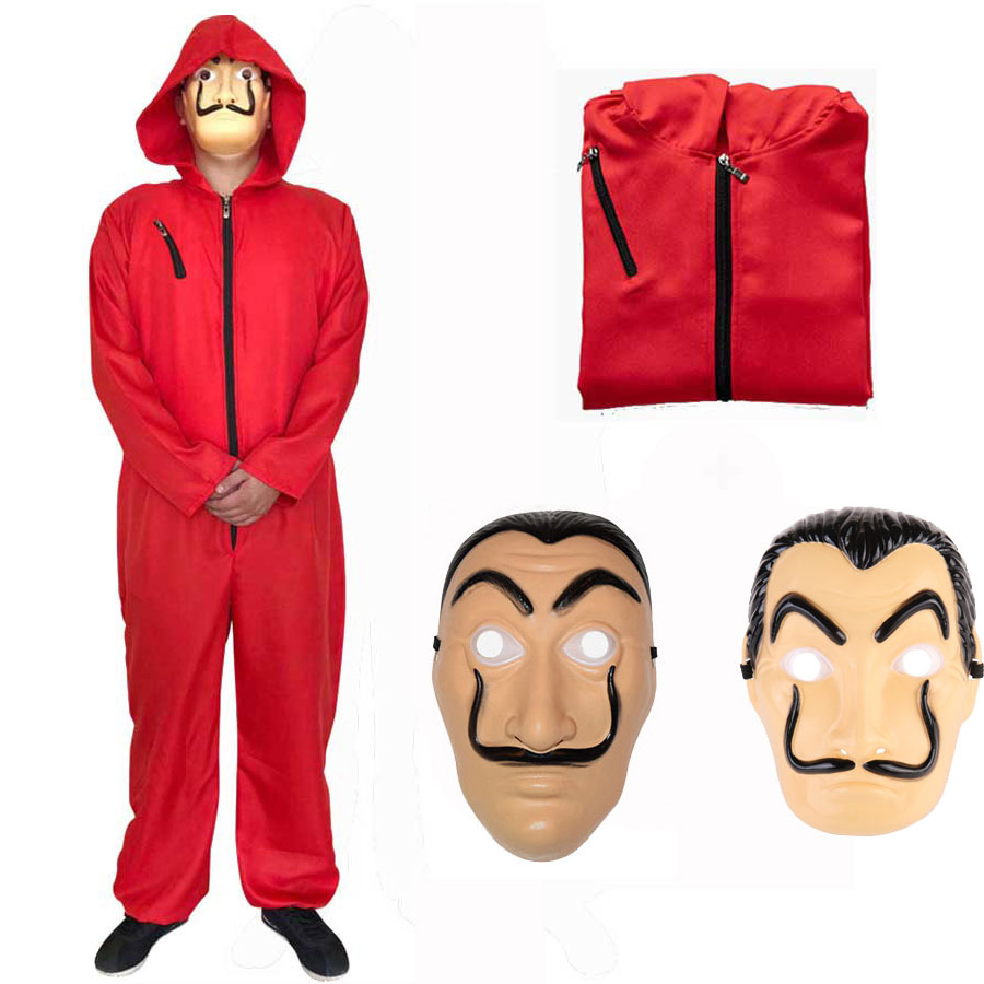 Adult Kids Salvador Dali Costume House Paper Heist La Casa De Papel Mask Money Heist Red Jumpsuit Mask Cosplay