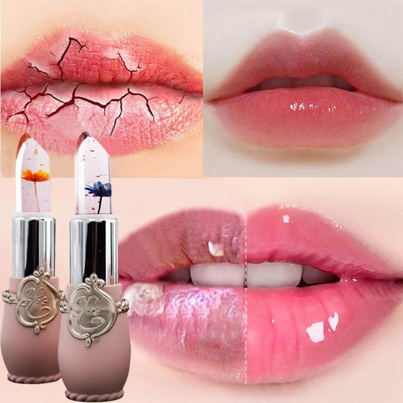 Flower Lipstick Moisturizer Transparent Jelly Long Lasting Make Up Waterproof Red Lip Balm Stick Temperature Changing
