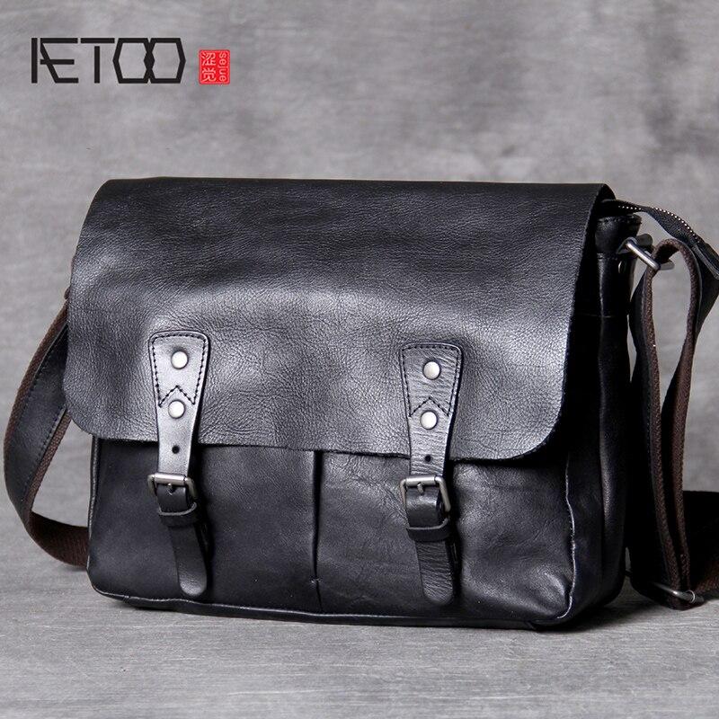AETOO Classic head cowhide male postman bag casual leather shoulder crossbody bag