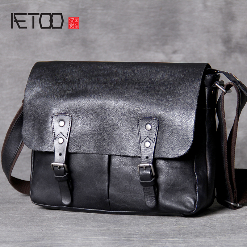 030d30ec3c9e AETOO классическая мужская почтальонская сумка из воловьей кожи  Повседневная кожаная сумка через плечо