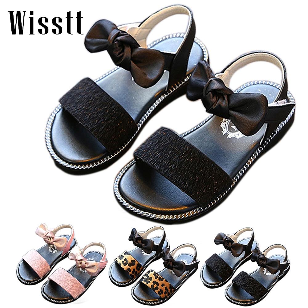 Hot sale Children Cute Beach Sandals Fashion Girls Antislip Princess Sandals Summer Kids Bow Toddler Shoes Flats Sandals 21 36