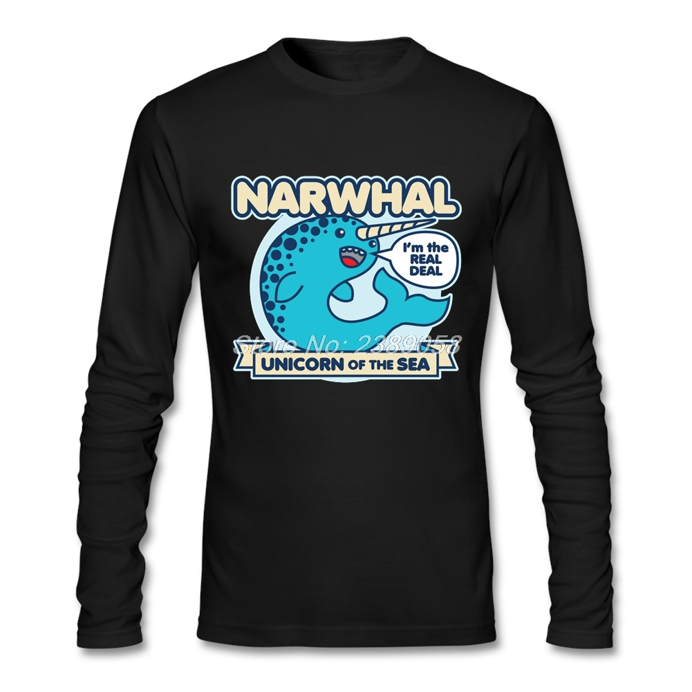 2017 Fashion Men T Shirts Narwhal Printing Long Sleeve Crew Neck Tees Cotton Unicorn of the Sea Man T shirt