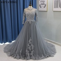 2018 ערבית ארוך שרוולי כדור שמלת שמלות נשף ארוך ערב אפור שמלות Vestido דה noiva חרוזים תחרת טול מפלגה לנשף שמלת