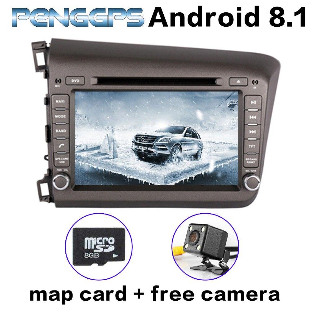 Android 8.1 voiture GPS Navigation pour Honda CIVIC 2012 2013 2014 2015 gauche lecteur CD DVD lecteur IPS écran 2 Din WIFI Headunit