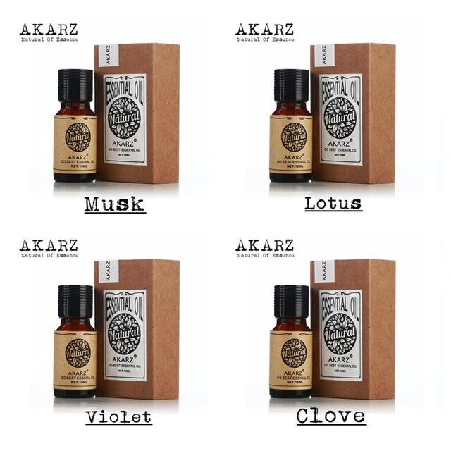 AKARZ Известный бренд Чистый Мускус лотоса фиолетовый гвоздики эфирное масло Pack Для Ароматерапии, массаж, Спа, ванна 10 мл * 4