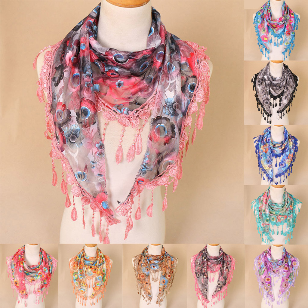 Women Lace Tassel Floral Multicolor Print Hollow Scarf Shawl Wraps Scarves Dropshipping Decoration Accessories Discount
