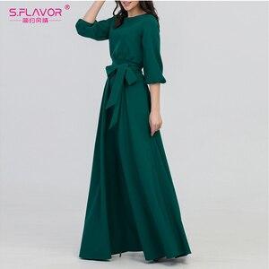 Image 3 - S.FLAVOR kolor zielony kobieta O Neck długa sukienka styl boho Slim Vestidos Vintage 3/4 latarnia rękaw Casual sukienka zimowa