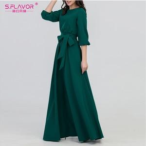 Image 3 - S. Lezzet yeşil renk kadın o boyun uzun elbise bohem stili İnce Vestidos Vintage 3/4 fener kol rahat kış elbise