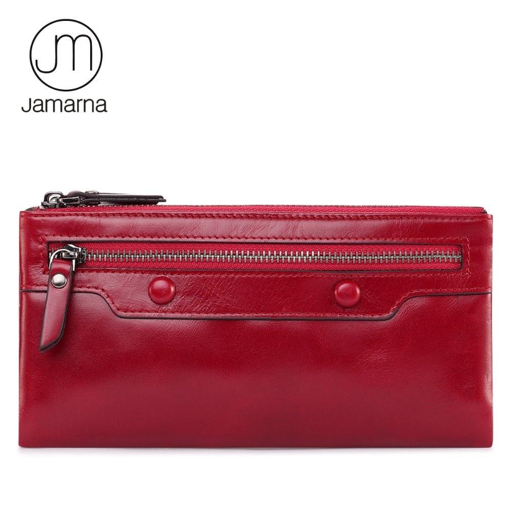 Jamarna Monedero Largo Del Embrague Del Mitón Del Monedero para Las Mujeres de Cuero Genuino Rojo Soporte para Teléfono de Doble Cremallera Carpeta de la Moneda del Monedero Femenino
