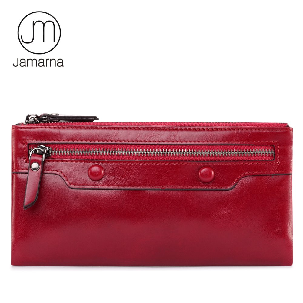 Jamarna Wallet for Women Genuine Leather Purse Long Wristlet Clutch Red Wallet Coin Female Purse Phone