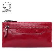 Jamarna бумажник для Для женщин Пояса из натуральной кожи кошелек долго Браслет клатч Красный кошелек для монет женский кошелек телефон держатель двойная молния
