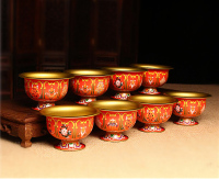 4 pcs Red Buddhism Meditation Holy Cup Tibetan Metal Buddha Bowl Gilt Copper Bowls Buddhist Religion Supplies Water Cup Figurine
