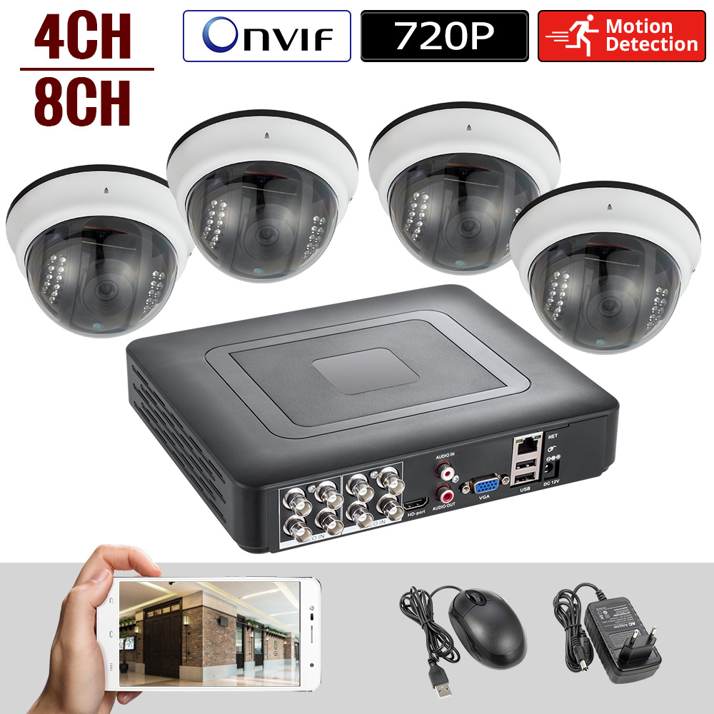 Security Camera System 4 Channel DVR 1080N AHD Home Surveillance System 4 HD 720P Night vision