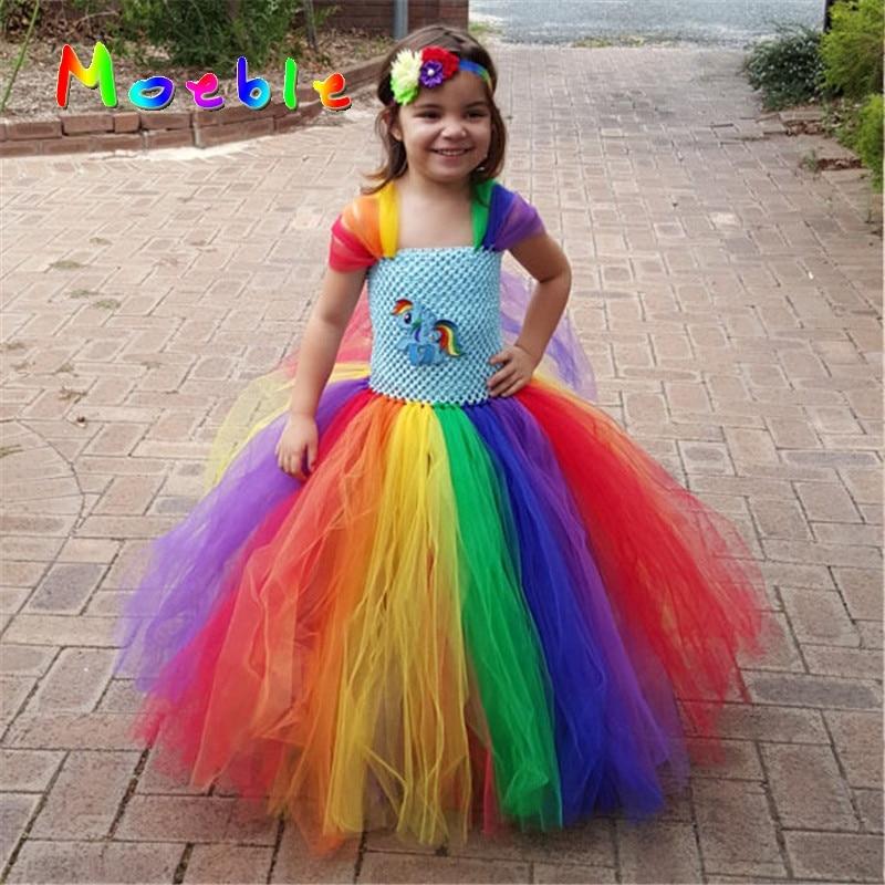 Little Horse Children Girls Rainbow Tutu Dress Kids Birthday Wedding Photo Tulle Tutu Dresses Baby Girls Halloween Xmas Costume