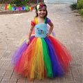 Little Pony Children Girls Rainbow Tutu Dress Kids Girl Birthday Wedding Photo Tulle Tutu Dress Baby Girls Birthday Gift DT-1630