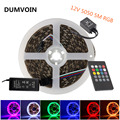 DUMVOIN Non-Waterproof 5M 5050 RGB 300LEDs Flexible LED Strip DC 12V+20 Key IR Music Controller+12V 5A 60W Power Supply