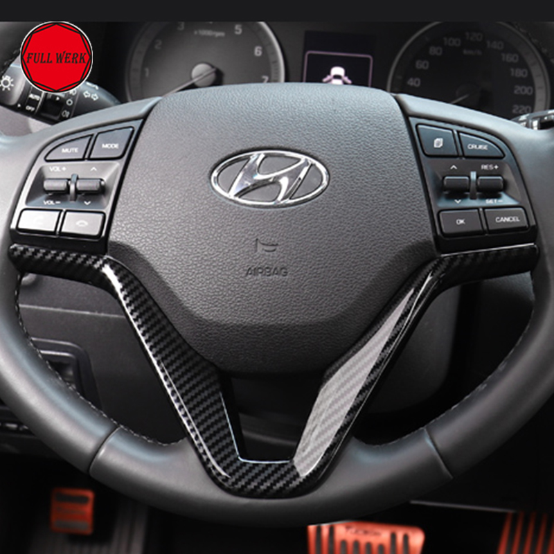 Car Steering Wheel Sequins Cover Interior Decoration Trim for Hyundai Tucson 3th 2015 2016 2017 2018 LHD ABS Chrom Accessories car door armrest window switch stickers decoration sequins control panel cover lhd for hyundai creta ix25 2015 2016 accessories