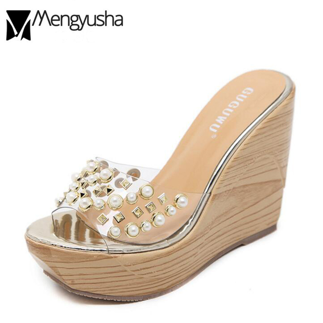 2018 Summer Platform Wedges Sandals Women Transparent Jelly Sandales Gold  Silver Beach Shoes Rivets Flip Flops Pearl Slippers 48e6702fadec