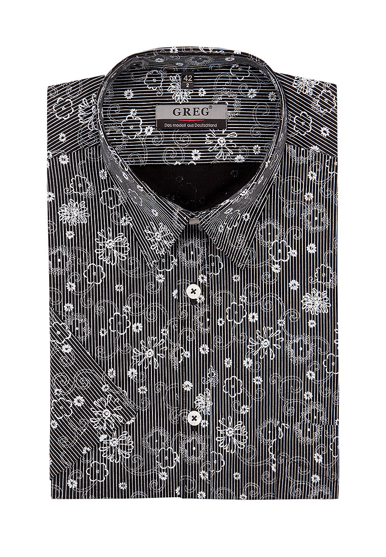 Shirt men's short sleeve GREG 343/301/24/LV STRETCH Black