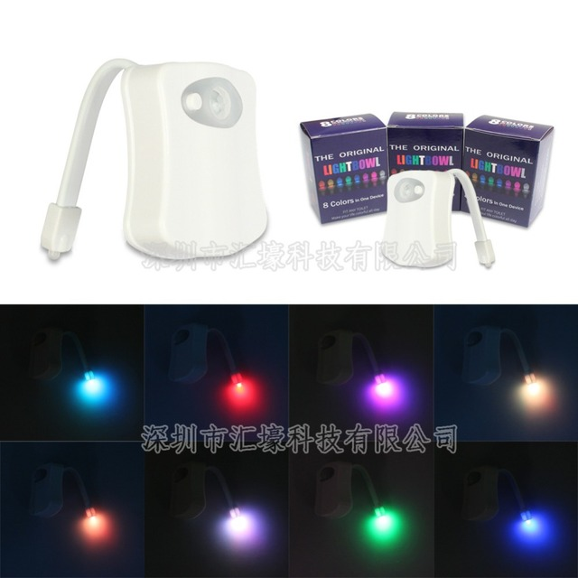 Smart LED christmas lights Motion Auto Sensor Activated Toilet Night Light Bathroom With 8 Color Changing Washroom nightlight