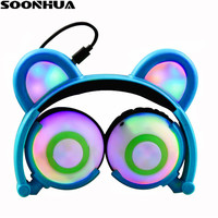 SOONHUA Foldable Flashing Glowing Bear Ear Headphones Gaming Headset Wired Earphone with LED Light For PC Laptop Mobile Phone