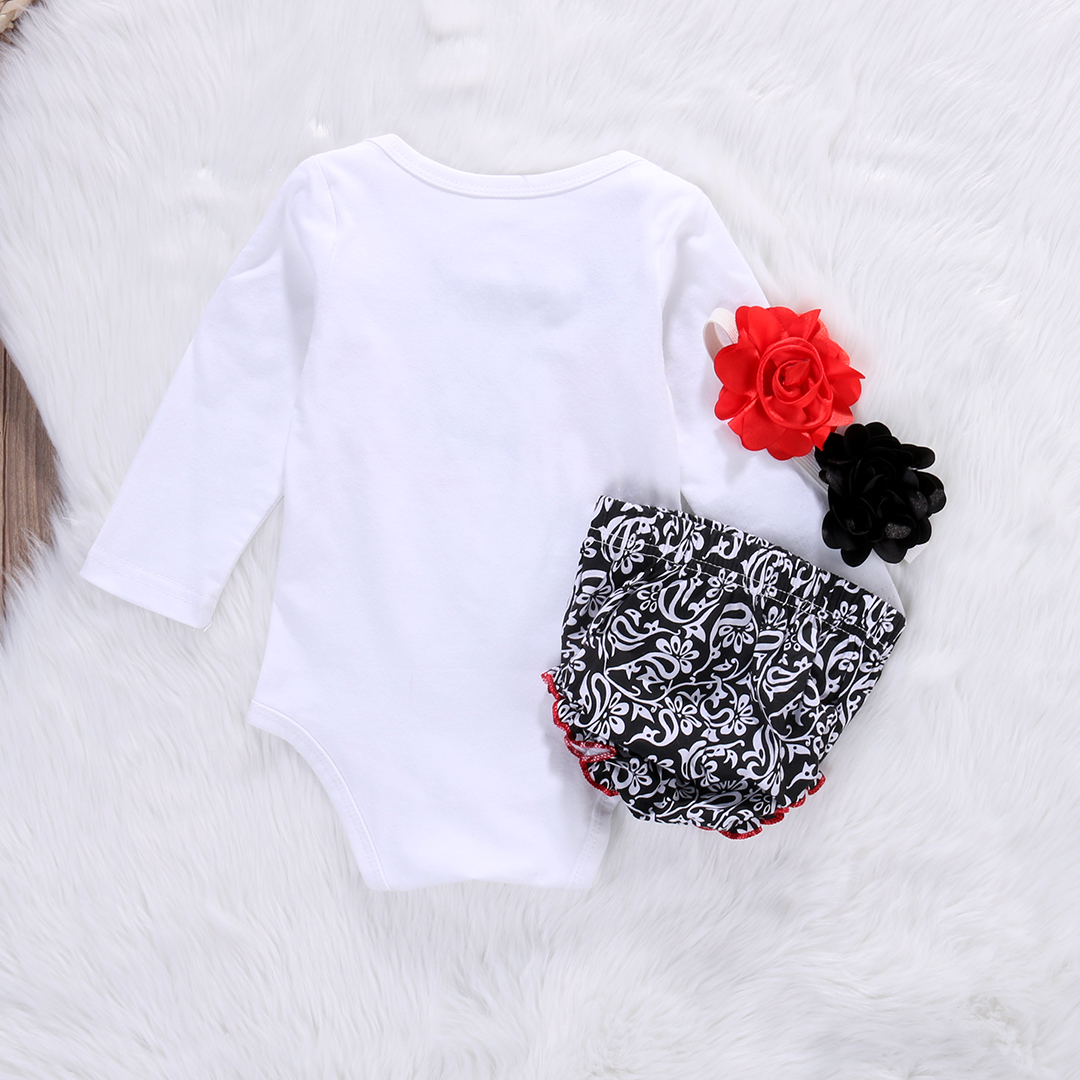 3pcs!!Toddler Newborn Baby Girls Tops Long Sleeve Kiss Romper+PP Pants+Flower Headband Outfit Set Clothes 5