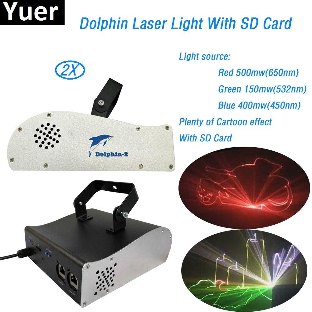 2 шт./лот 1 W дельфин RGB полный Цвет DMX512 с SD карта стадии лазерного излучения профессиональный клуб KTV Танцы Высокое качество лазерный свет