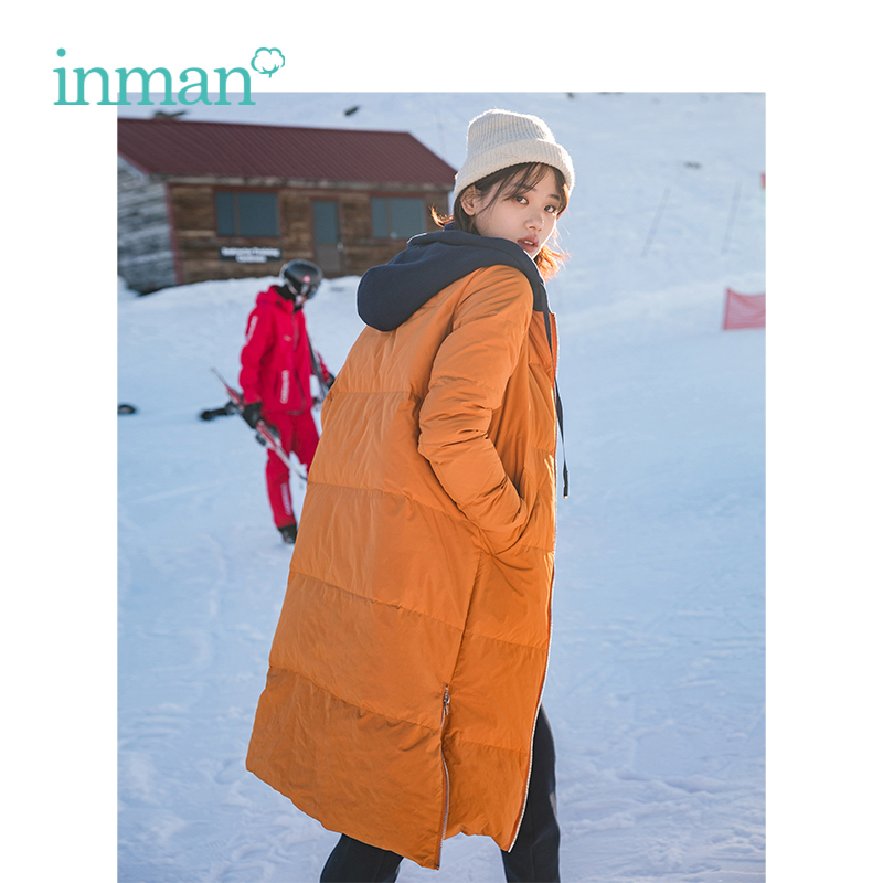INMAN Winter New Arrival Female Contrast Color Hooded Drawstring Side Slit Long Section   Down     Coat